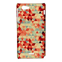 Modern Hipster Triangle Pattern Red Blue Beige Sony Xperia J