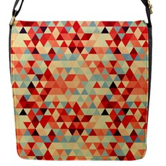 Modern Hipster Triangle Pattern Red Blue Beige Flap Messenger Bag (S)