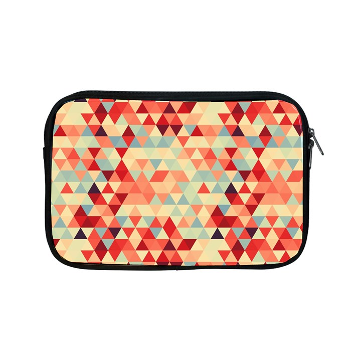 Modern Hipster Triangle Pattern Red Blue Beige Apple iPad Mini Zipper Cases