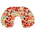 Modern Hipster Triangle Pattern Red Blue Beige Travel Neck Pillows Back