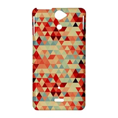 Modern Hipster Triangle Pattern Red Blue Beige Sony Xperia V