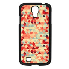 Modern Hipster Triangle Pattern Red Blue Beige Samsung Galaxy S4 I9500/ I9505 Case (Black)