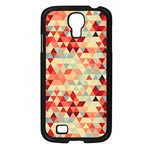 Modern Hipster Triangle Pattern Red Blue Beige Samsung Galaxy S4 I9500/ I9505 Case (Black) Front