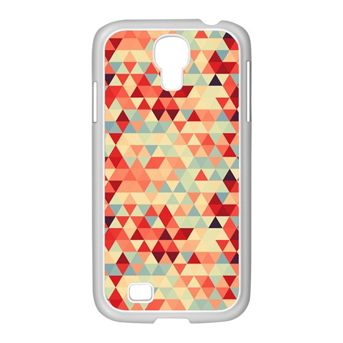 Modern Hipster Triangle Pattern Red Blue Beige Samsung GALAXY S4 I9500/ I9505 Case (White)