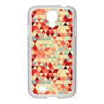 Modern Hipster Triangle Pattern Red Blue Beige Samsung GALAXY S4 I9500/ I9505 Case (White) Front