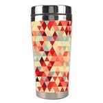 Modern Hipster Triangle Pattern Red Blue Beige Stainless Steel Travel Tumblers Left