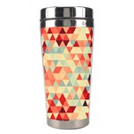 Modern Hipster Triangle Pattern Red Blue Beige Stainless Steel Travel Tumblers Center