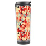 Modern Hipster Triangle Pattern Red Blue Beige Travel Tumbler Left