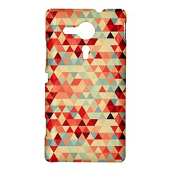 Modern Hipster Triangle Pattern Red Blue Beige Sony Xperia SP