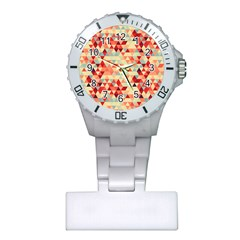 Modern Hipster Triangle Pattern Red Blue Beige Plastic Nurses Watch