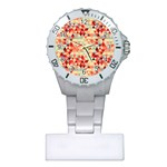 Modern Hipster Triangle Pattern Red Blue Beige Plastic Nurses Watch Front