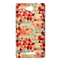 Modern Hipster Triangle Pattern Red Blue Beige Sony Xperia C (S39H)