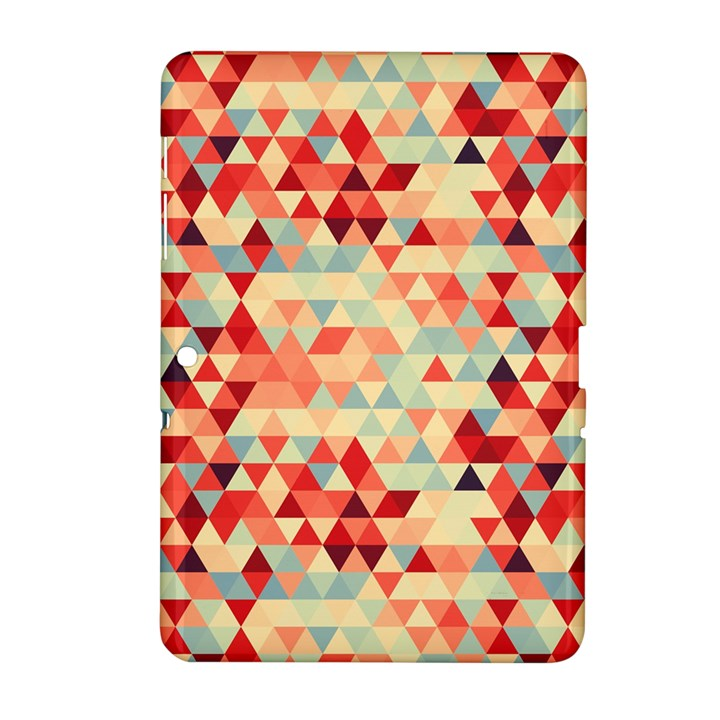 Modern Hipster Triangle Pattern Red Blue Beige Samsung Galaxy Tab 2 (10.1 ) P5100 Hardshell Case