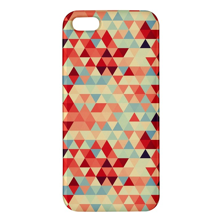 Modern Hipster Triangle Pattern Red Blue Beige iPhone 5S/ SE Premium Hardshell Case