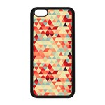 Modern Hipster Triangle Pattern Red Blue Beige Apple iPhone 5C Seamless Case (Black) Front