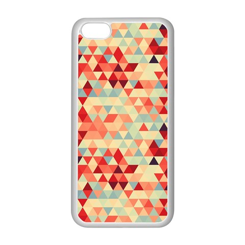 Modern Hipster Triangle Pattern Red Blue Beige Apple iPhone 5C Seamless Case (White)
