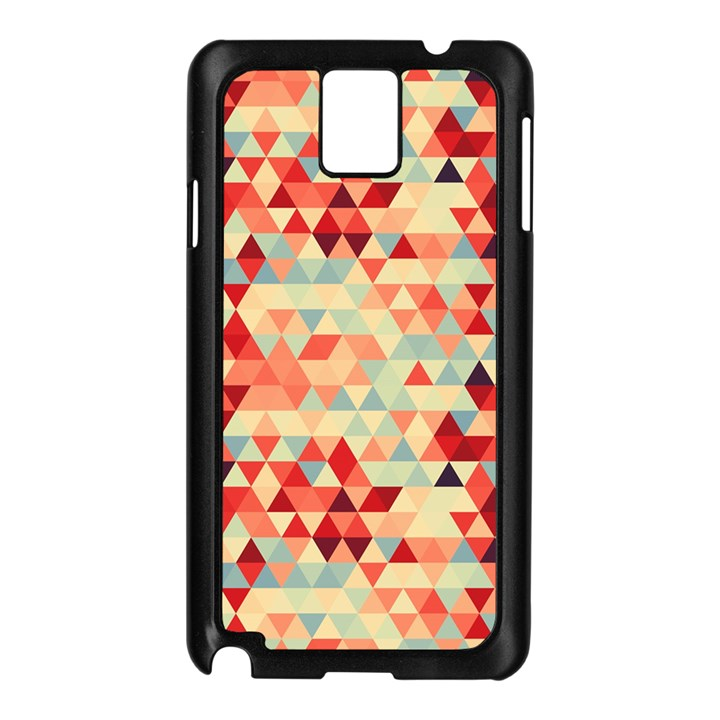 Modern Hipster Triangle Pattern Red Blue Beige Samsung Galaxy Note 3 N9005 Case (Black)