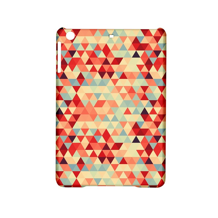 Modern Hipster Triangle Pattern Red Blue Beige iPad Mini 2 Hardshell Cases