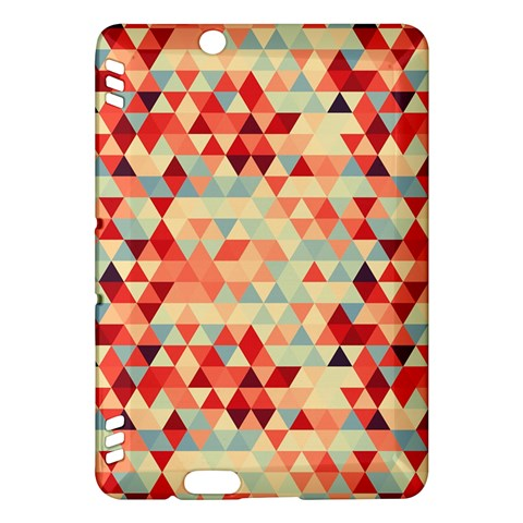 Modern Hipster Triangle Pattern Red Blue Beige Kindle Fire HDX Hardshell Case
