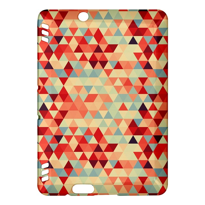 Modern Hipster Triangle Pattern Red Blue Beige Kindle Fire HDX Hardshell Case
