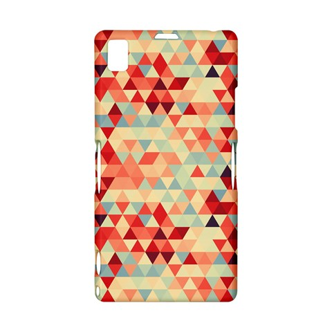 Modern Hipster Triangle Pattern Red Blue Beige Sony Xperia Z1