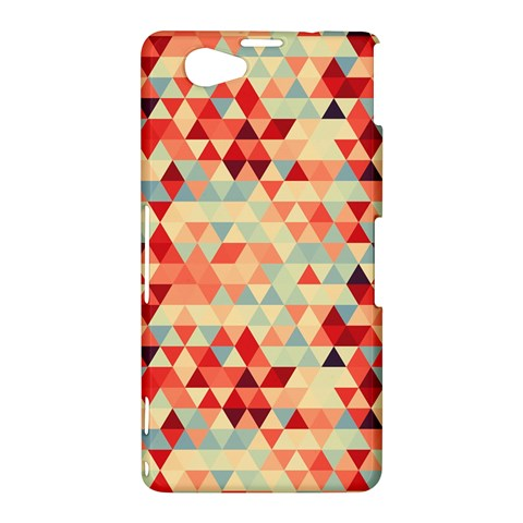 Modern Hipster Triangle Pattern Red Blue Beige Sony Xperia Z1 Compact