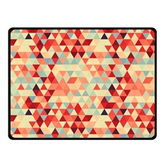 Modern Hipster Triangle Pattern Red Blue Beige Double Sided Fleece Blanket (Small)