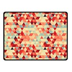 Modern Hipster Triangle Pattern Red Blue Beige Double Sided Fleece Blanket (Small)  50 x40 Blanket Back