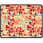 Modern Hipster Triangle Pattern Red Blue Beige Double Sided Fleece Blanket (Medium)  60 x50 Blanket Front