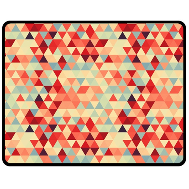 Modern Hipster Triangle Pattern Red Blue Beige Double Sided Fleece Blanket (Medium)