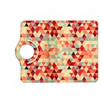 Modern Hipster Triangle Pattern Red Blue Beige Kindle Fire HD (2013) Flip 360 Case Front