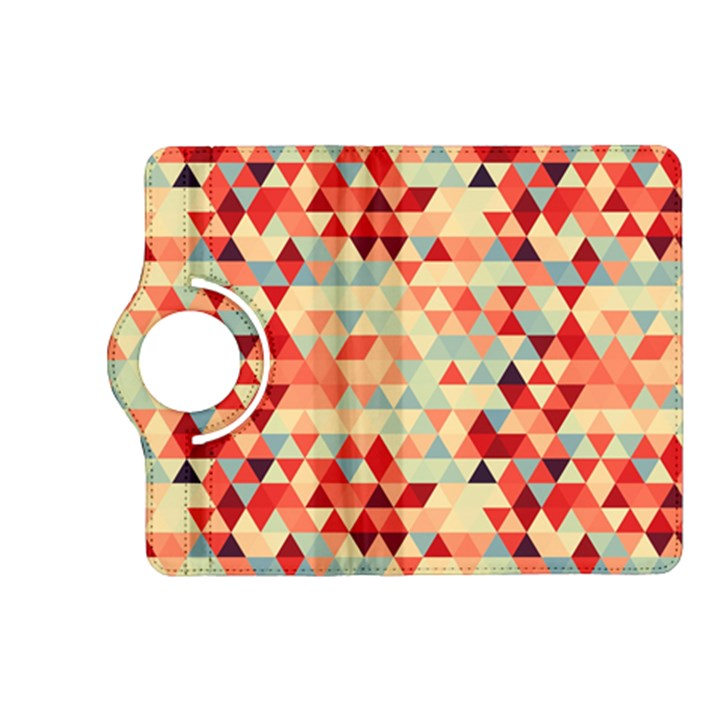 Modern Hipster Triangle Pattern Red Blue Beige Kindle Fire HD (2013) Flip 360 Case