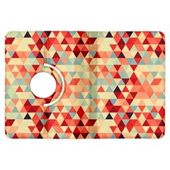 Modern Hipster Triangle Pattern Red Blue Beige Kindle Fire HDX Flip 360 Case