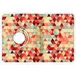 Modern Hipster Triangle Pattern Red Blue Beige Kindle Fire HDX Flip 360 Case Front