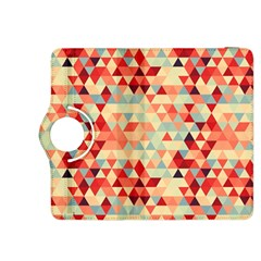 Modern Hipster Triangle Pattern Red Blue Beige Kindle Fire Hdx 8 9  Flip 360 Case