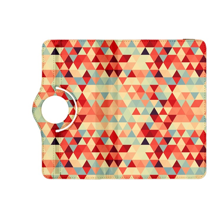 Modern Hipster Triangle Pattern Red Blue Beige Kindle Fire HDX 8.9  Flip 360 Case