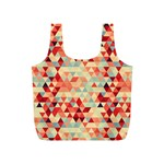 Modern Hipster Triangle Pattern Red Blue Beige Full Print Recycle Bags (S)  Back