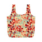 Modern Hipster Triangle Pattern Red Blue Beige Full Print Recycle Bags (M)  Front