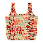 Modern Hipster Triangle Pattern Red Blue Beige Full Print Recycle Bags (L)  Front