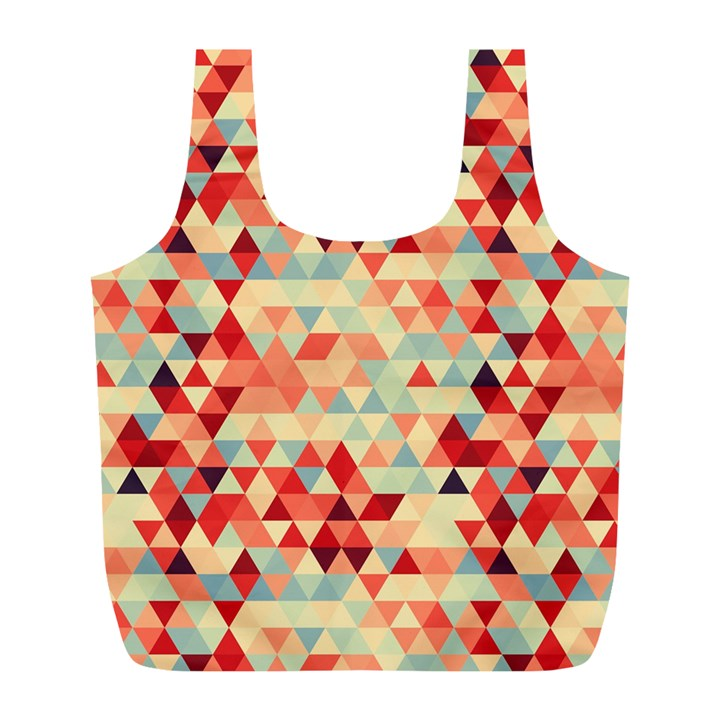 Modern Hipster Triangle Pattern Red Blue Beige Full Print Recycle Bags (L)