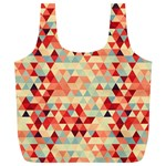 Modern Hipster Triangle Pattern Red Blue Beige Full Print Recycle Bags (L)  Back