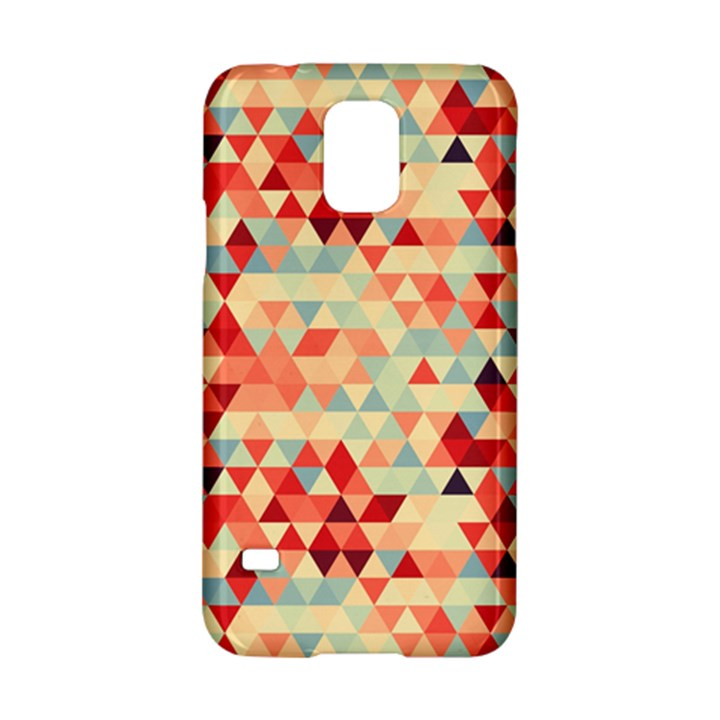 Modern Hipster Triangle Pattern Red Blue Beige Samsung Galaxy S5 Hardshell Case