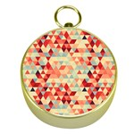 Modern Hipster Triangle Pattern Red Blue Beige Gold Compasses Front