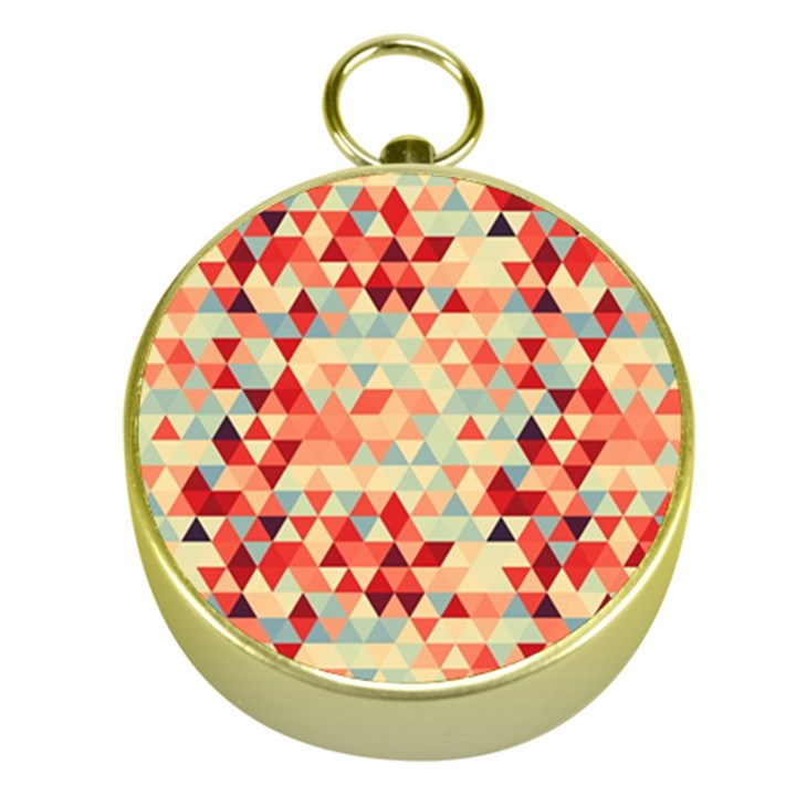 Modern Hipster Triangle Pattern Red Blue Beige Gold Compasses