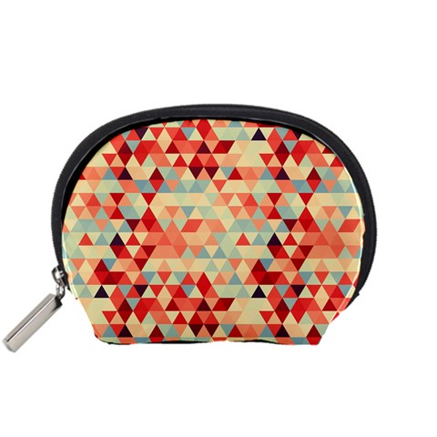 Modern Hipster Triangle Pattern Red Blue Beige Accessory Pouches (Small)