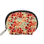 Modern Hipster Triangle Pattern Red Blue Beige Accessory Pouches (Small)  Front