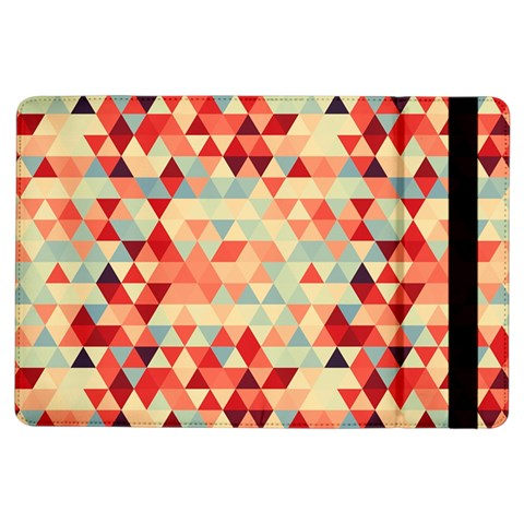 Modern Hipster Triangle Pattern Red Blue Beige iPad Air Flip
