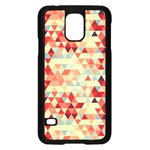Modern Hipster Triangle Pattern Red Blue Beige Samsung Galaxy S5 Case (Black) Front