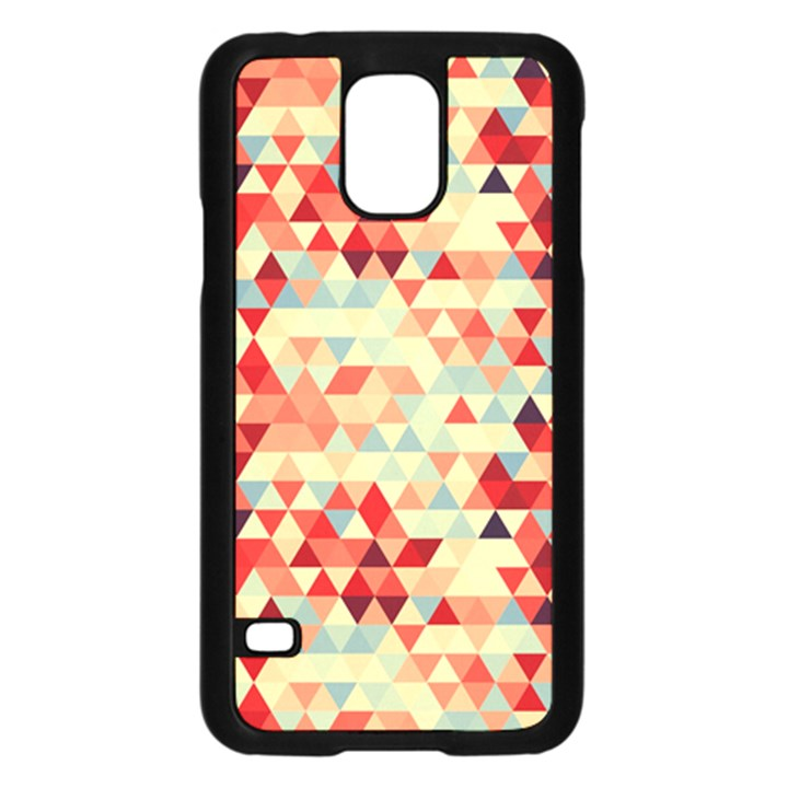 Modern Hipster Triangle Pattern Red Blue Beige Samsung Galaxy S5 Case (Black)