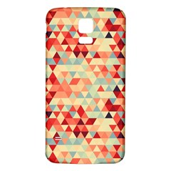 Modern Hipster Triangle Pattern Red Blue Beige Samsung Galaxy S5 Back Case (White)